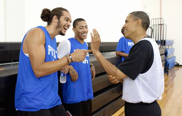 President Obama,  Joakim Noah and Derrick Rose