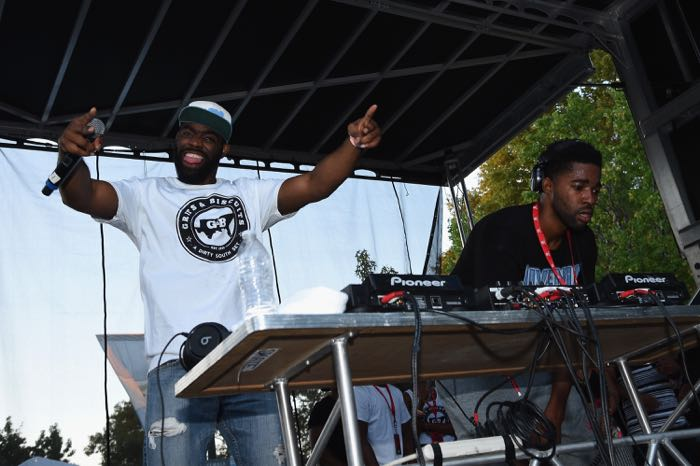 PHILADELPHIA, PA - SEPTEMBER 06: Entertainers Alzo Slade (L) and Maurice Slade of Grits and Biscuits perform on stage during 2015 Budweiser Made in America festival at Benjamin Franklin Parkway on September 6, 2015 in Philadelphia, Pennsylvania. (Photo by Dimitrios Kambouris/Getty Images for Anheuser-Busch)