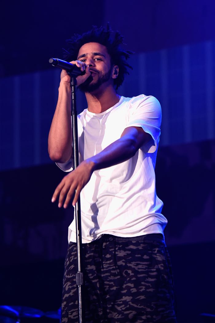 PHILADELPHIA, PA - SEPTEMBER 06: Rapper J. Cole performs onstage during the 2015 Budweiser Made in America Festival at Benjamin Franklin Parkway on September 6, 2015 in Philadelphia, Pennsylvania. (Photo by Kevin Mazur/Getty Images for Anheuser-Busch)