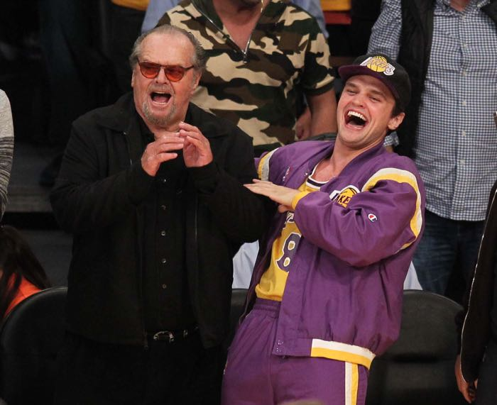 Celebrities at the Los Angeles Lakers game. The Los Angeles Lakers defeated the Utah Jazz by the final score of 101-96 in Lakers Kobe Bryant's last NBA game at Staples Center. Featuring: Jack Nicholson, Raymond Nicholson Where: Los Angeles, California, United States When: 13 Apr 2016 Credit: WENN.com