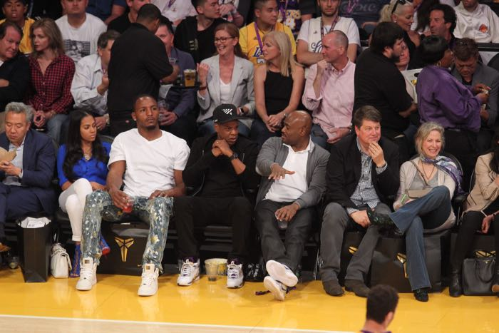 Celebrities at the Los Angeles Lakers game. The Los Angeles Lakers defeated the Utah Jazz by the final score of 101-96 in Lakers Kobe Bryant's last NBA game at Staples Center. Featuring: Jay-Z Where: Los Angeles, California, United States When: 13 Apr 2016 Credit: WENN.com