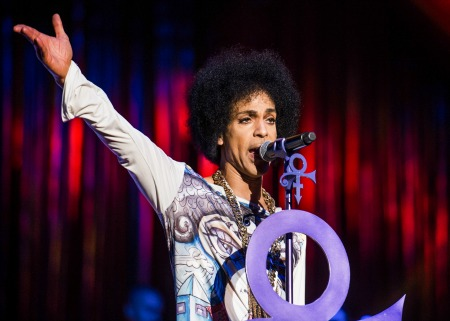 """Prince performs live in Birmingham at the LG Arena in May 2014 on his """"Hit and Run part II"""" tour. The music icon died on Thursday 21st April 2016 at his Paisley Park estate in Minnesota at the age of 57. Featuring: Prince, Prince Rogers Nelson Where: Birmingham, United Kingdom When: 21 Apr 2016 Credit: WENN.com"""