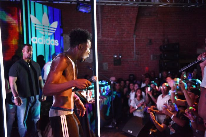 NEW YORK, NY - AUGUST 04: Hip-hop artist Desiigner performs as Adidas Originals presents The Last Encore featuring G.O.O.D Music at The Tunnel on August 4, 2016 in New York City. (Photo by Bryan Bedder/Getty Images for Adidas)