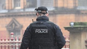 Armed British Transport Police patrol Manchester Piccadilly Train Station