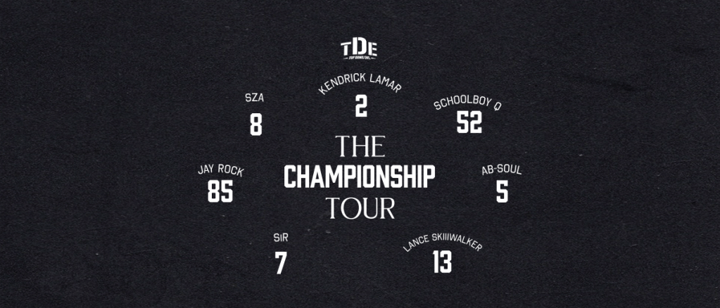 KENDRICK LAMAR The Championship Tour With special guests SZA, ScHoolboyQ and more Friday, June 8 BB&T Pavilion