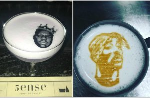 2Pac Biggie Cocktail Latte Art