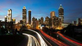 Atlanta city skyline at night