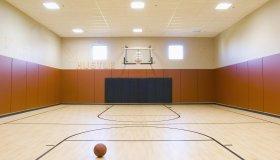 A basketball and basketball court.