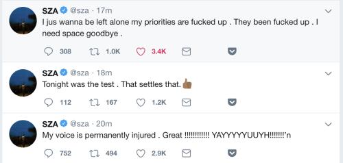SZA Vocal Cord Damage Tweets