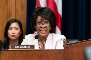 U.S. Representative Maxine Waters (D-CA) at a hearing of the...