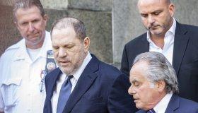 Harvey Weinstein & attorney Benjamin Brafman leave court...