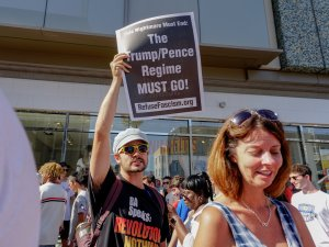 Protesters at the scene after U.S President Donald Trump 's Hollywood Walk of Fame star was vandalized