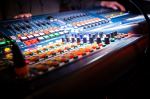 Close-Up Of Multi Colored Sound Mixer
