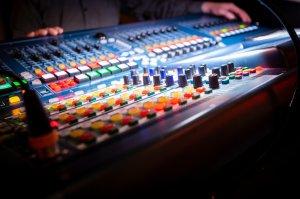 Close-Up Of Multi Colored Sound Mixer