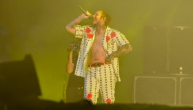 Post Malone Performing Live At The 2018 Coachella Music Festival.