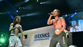 Wiz Khalifa and Rae Sremmurd perform on stage at Perfect Vodka Amphitheater