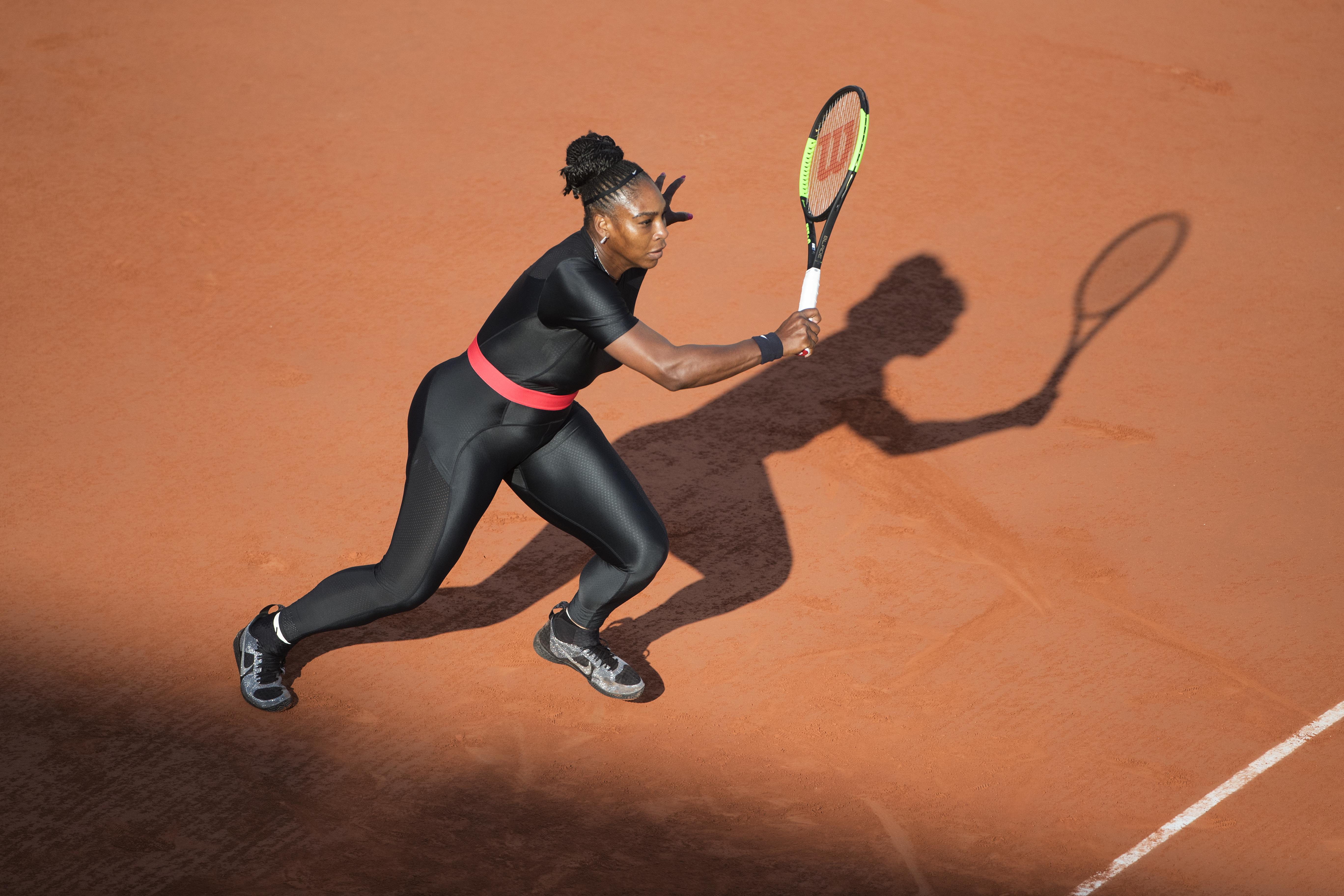 Serena Williams in bodysuit at 2018 French Open Tennis Tournament