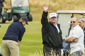 President Donald Trump spotted playing golf