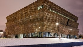 Facade of the new 'National Museum of African American History and culture' at night