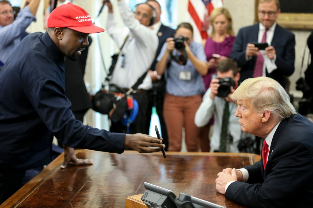 Celebs React To Kanye West's Head Scratching Sit Down With Donald Trump