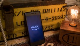The Amazon Music application seen displayed on a Sony...