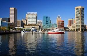 Inner Harbor and Baltimore skyline, Maryland, USA
