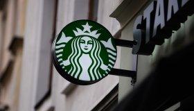 The Starbucks logo seen in Krakow...