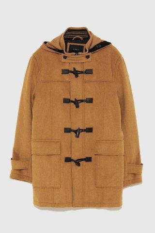 ZARA Man Hooded Duffel Coat
