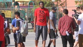 Kevin Durant coaches at a Nike youth basketball camp
