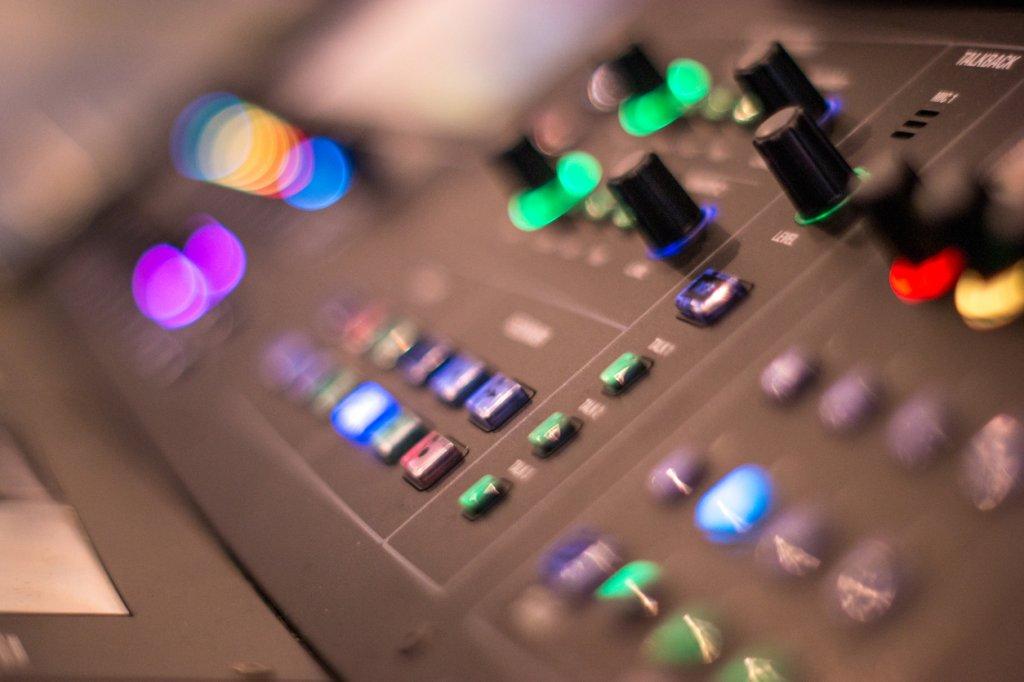 Close-Up Of Illuminated Sound Mixer
