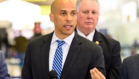 U.S. Senator Cory Booker (D-NJ) seen speaking at a news...