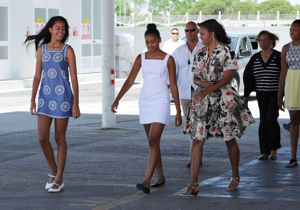 U.S. First Lady Michelle Obama flies from Venice to the USA