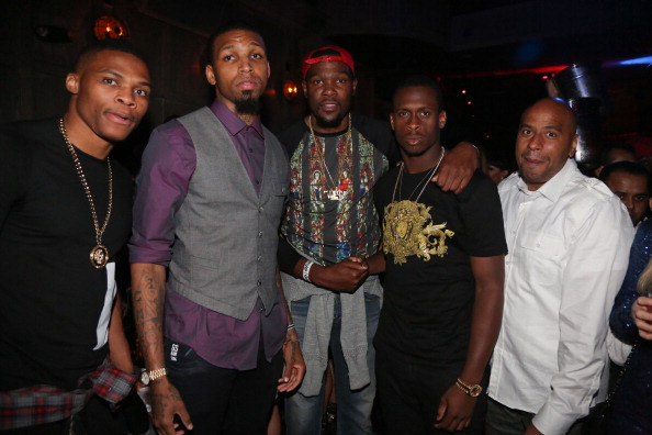 Kevin Durant was one of his best friends...here Cliff celebrates KD's 25th birthday, alongside Russell Westbrook, Geno Smith, and Juan Lopez