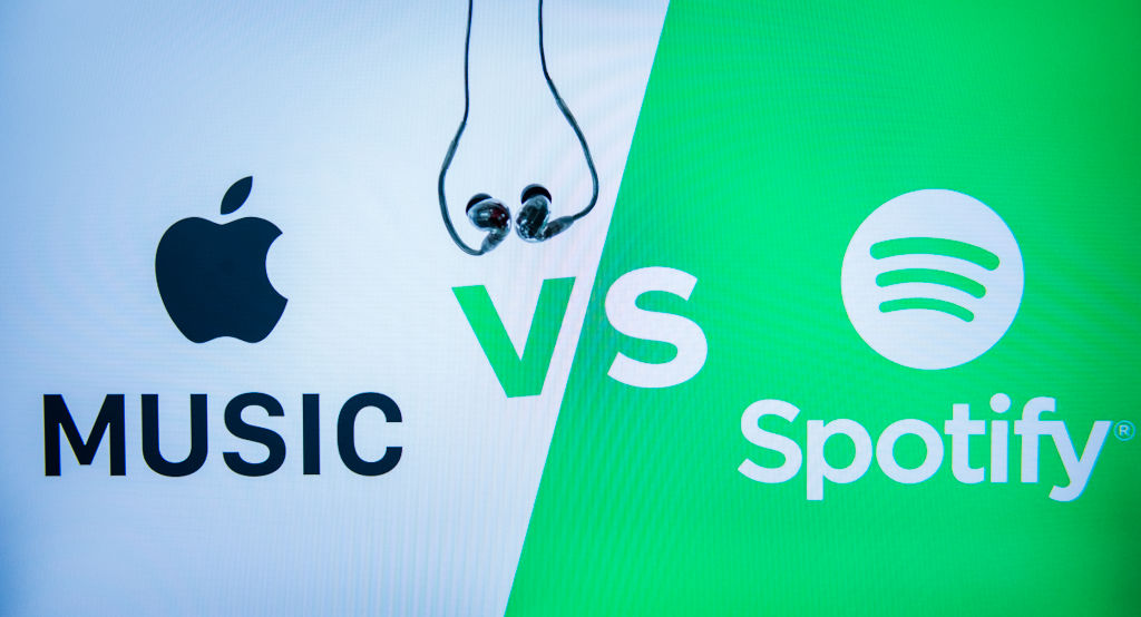 Logos of Apple Music and Spotify apps