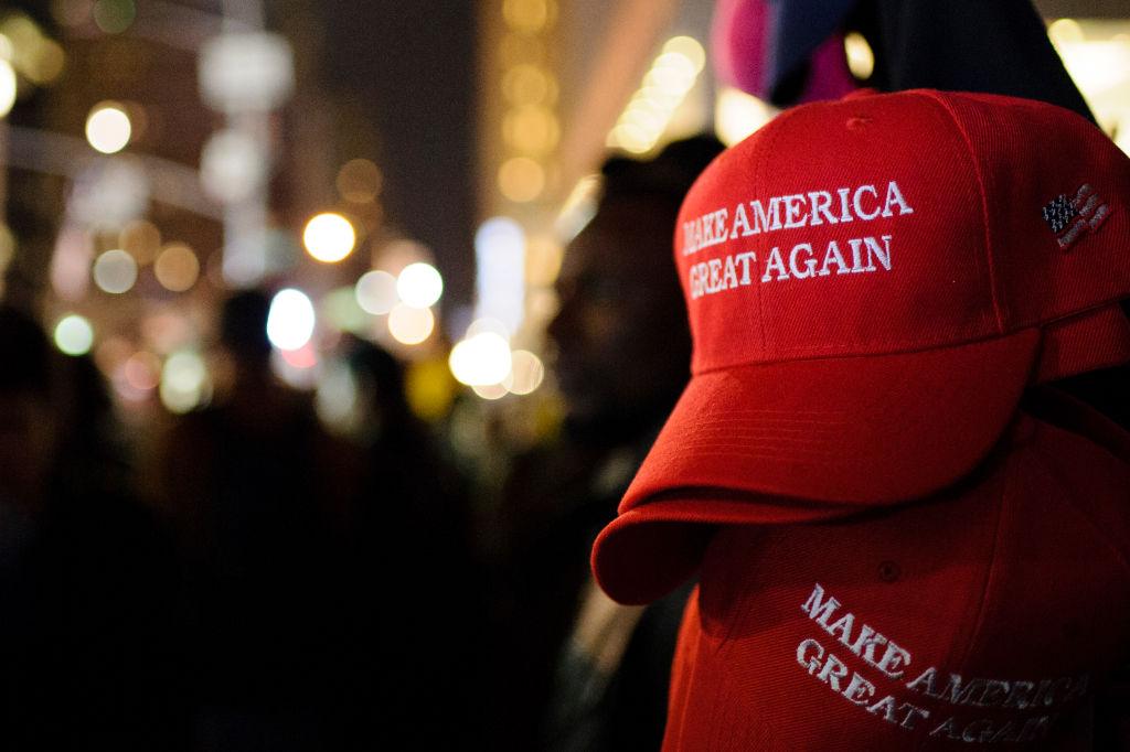'Make America Great Again' red baseball caps, signature...