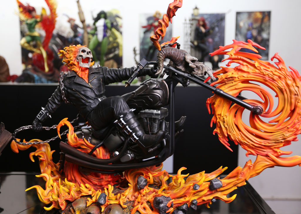 """Statues of comic book characters """"Ghost rider"""" is seen at G-Link (Hong Kong) Limited in San Po Kong. 22FEB17 SCMP / Xiaomei Chen"""