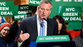 New York City Mayor, Bill de Blasio (D) seen speaking during...