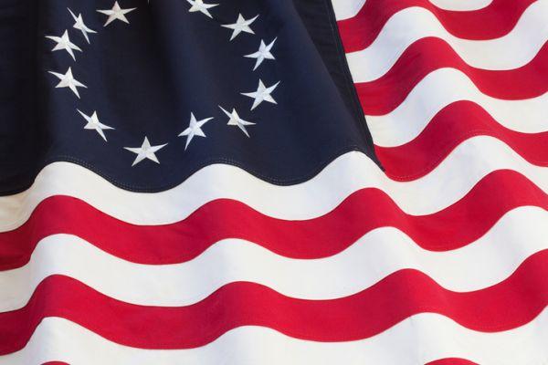 Close-Up Of Betsy Rose Flag Waving