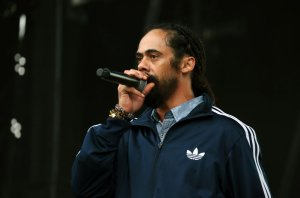 Damian Marley Performs live on stage at Lloyd Park during...