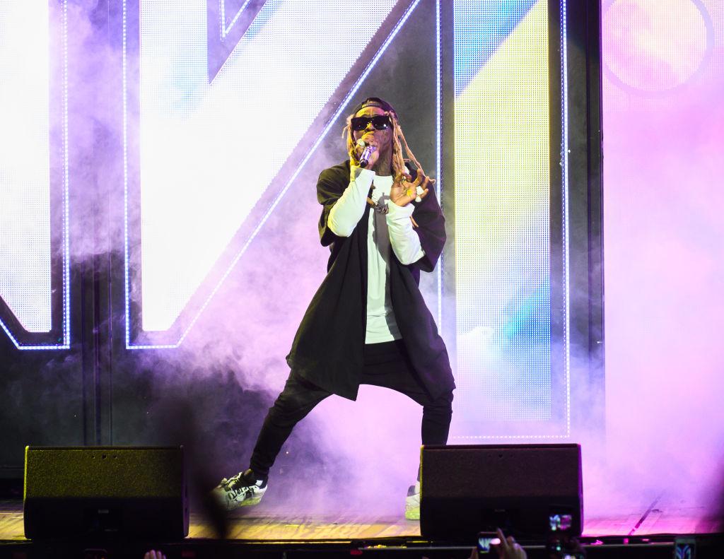 Lil Wayne (Swayne Carter Jr.) performs at Jiffy Lube Live Thursday evening.