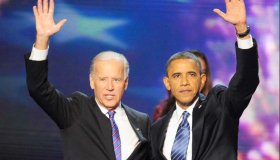 Barack Obama and Joe Biden at the 2012 Democratic National Convention in Charlotte, N.C.