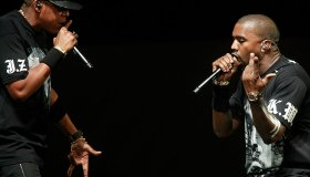 Jay–Z, left, and Kanye West, right, on stage at Staples Center Sunday night December 11 2011 for th