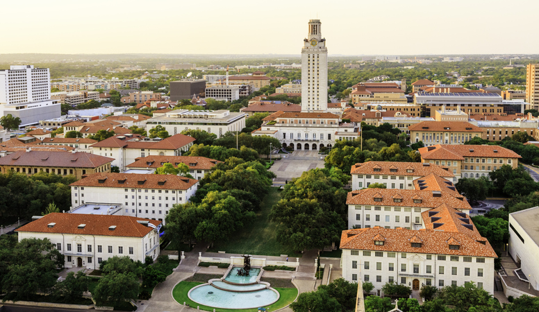 University of Texas (UT) Austin campus at sunset aerial view