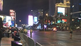 New Year's Eve closed Las Vegas Strip with many police and security present 7pm Dec 31 2017