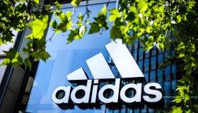 An Adidas logo seen in Berlin...
