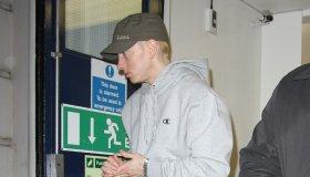 Eminem leaving BBC Maida Vale Studios after performing a secret gig