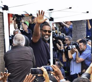 Idris Elba makes a speech in support of Tyler Perry as he is awarded the 2675th star on the Hollywood Walk of Fame