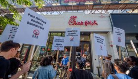 Protesters targeted Chick-Fil-A for their alleged homophobe...