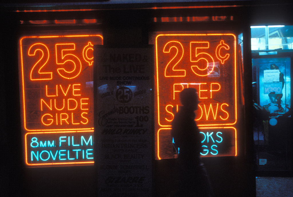 25 cent peep show with figure, New York, USA, early 80's.