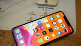 An iPhone 11 Pro Max seen in an Apple retail store in...